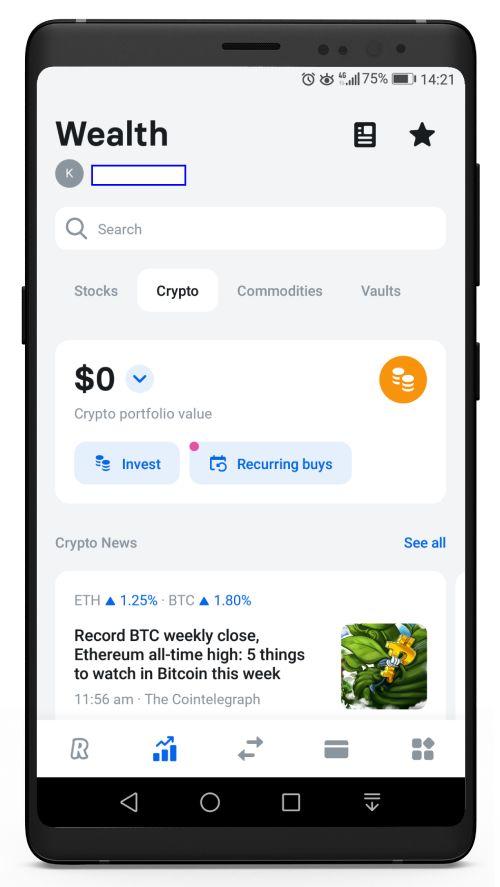 Revolut Wealth - Cryptocurrencies