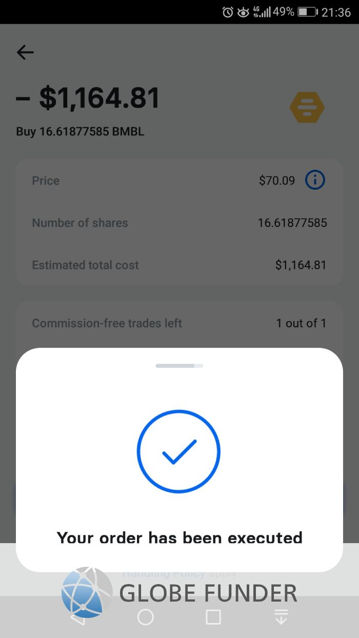 Order executed on Revolut.