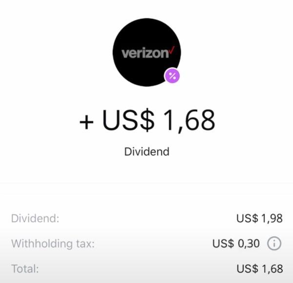 Dividend payment on Revolut app.