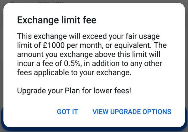 Revolut exchange limit fee