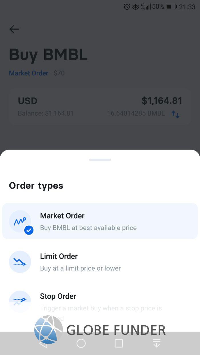 Order types on Revolut trading.